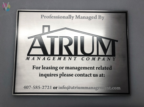 Aluminum Lobby Signs for Atrium in Orlando, FL