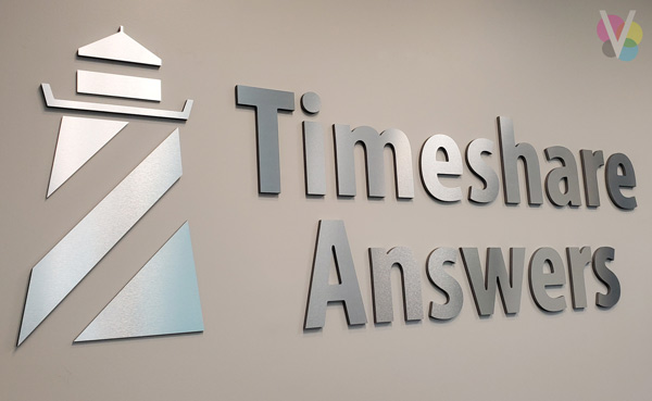 Timeshare Answers Metal Lobby Logo Signs Custom Made by Visual Signs in Orlando, FL