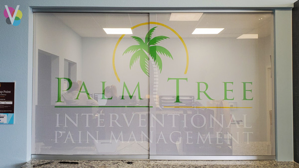 Perforated vinyl office signs and decals custom made by Visual Signs in Orlando, FL