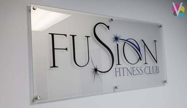 Acrylic Lobby Signage for Fusion Fitness Club in Orlando, FL