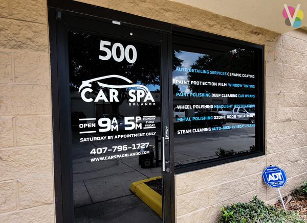 Car Spa Vinyl Window Graphics in Orlando, FL