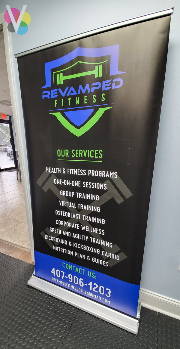 Revamped Fitness Roll Up Vinyl Banner Custom Made by Visual Signs in Orlando, FL